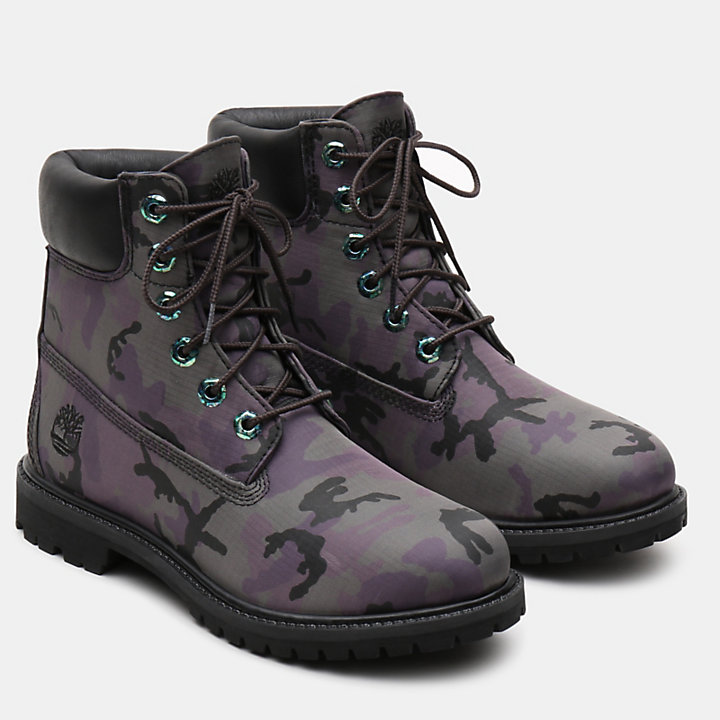 6 Inch Iridescent Premium Boot for Women in Black Camo-