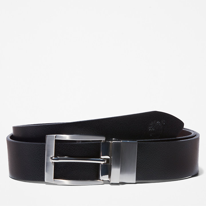 Reversible Leather Belt for Men in Black-
