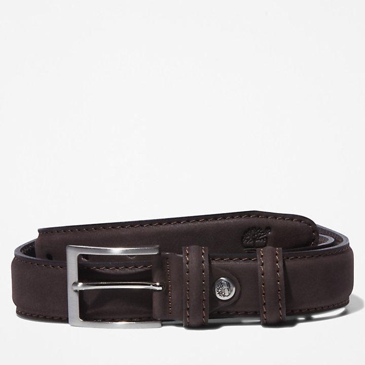 Nubuck Leather Belt for Men in Brown-