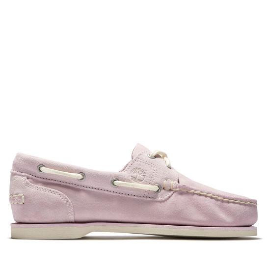 Chaussure bateau classique pour femme en rose