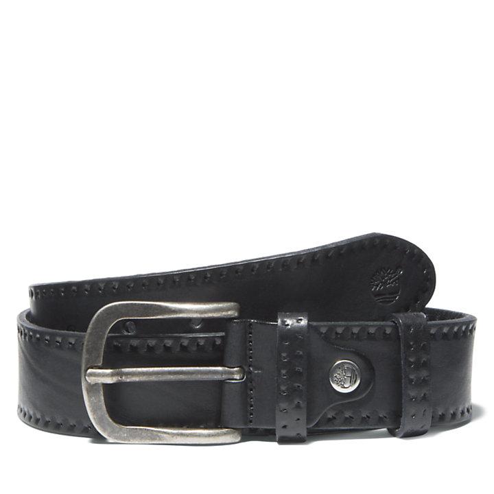 Embossed Leather Belt for Men in Black-