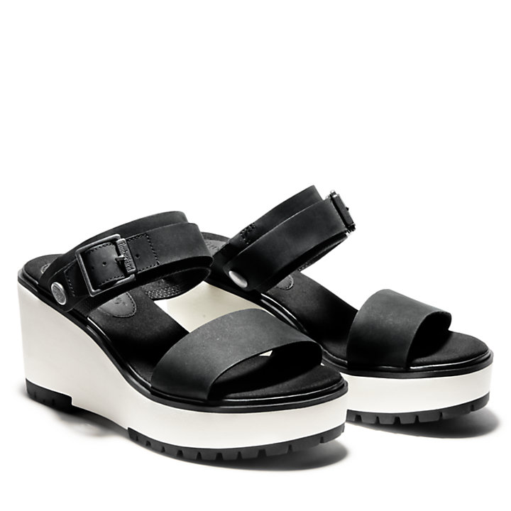 Sandalia de Cuña Koralyn para Mujer en color negro-