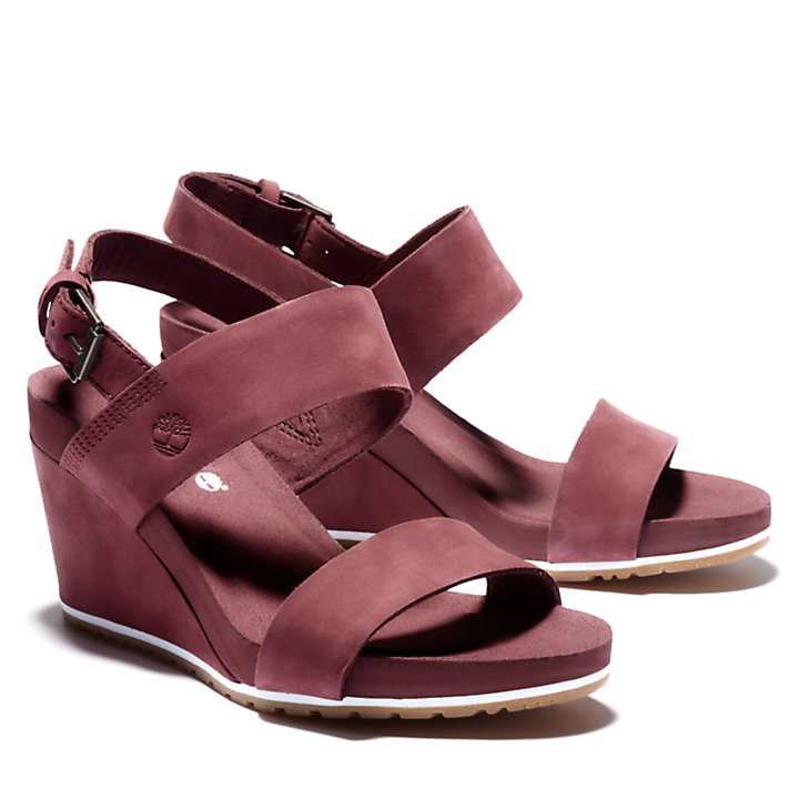 Capri Sunset Wedge Sandal for Women in Burgundy-