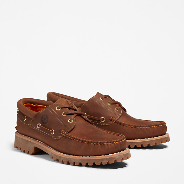 Timberland® Authentic 3-Eye Boat Shoe for Men in Light Brown-