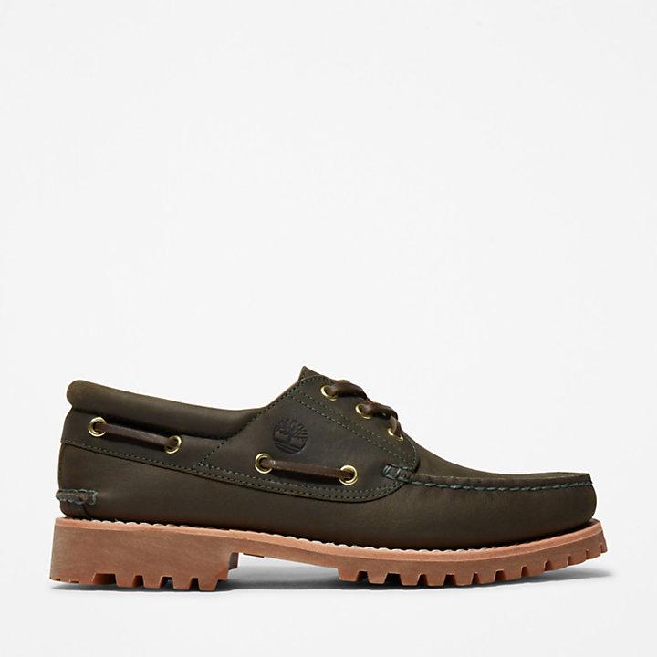 Authentic 3-Eye Boat Shoe for Men in Dark Green-