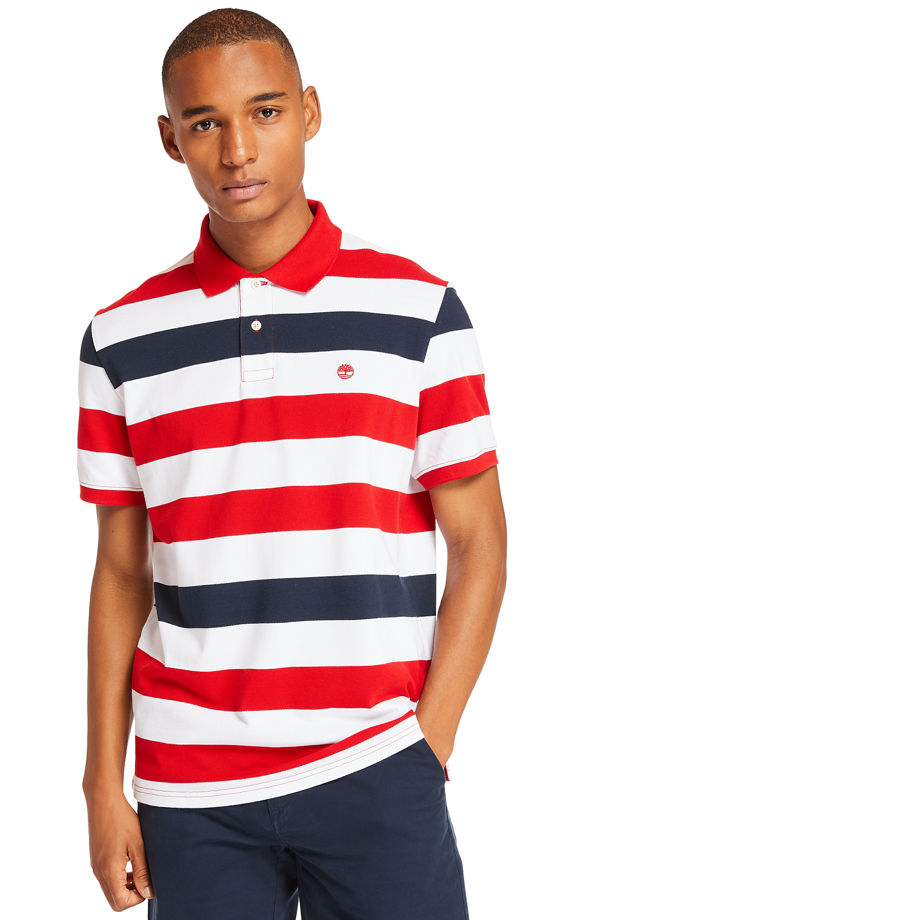 Timberland Polo Millers River Rayé Pour Homme En Rouge Rouge, Taille 3XL
