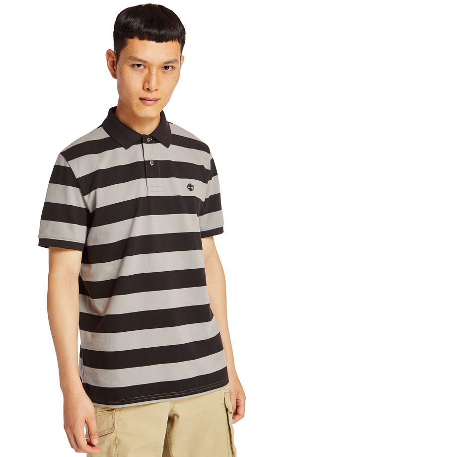 Timberland Polo Millers River Rayé Pour Homme En Gris Gris, Taille XXL