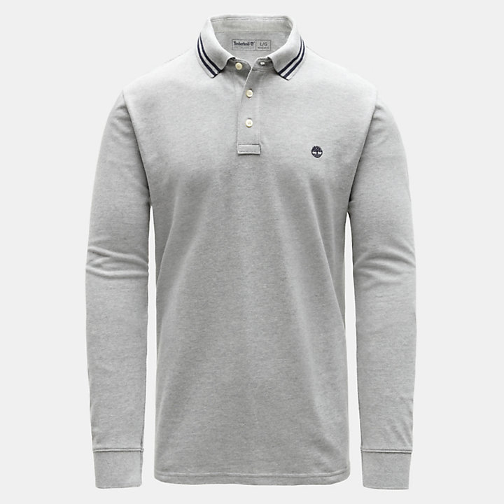 Millers River Tipped Polo Shirt for Men in Grey-