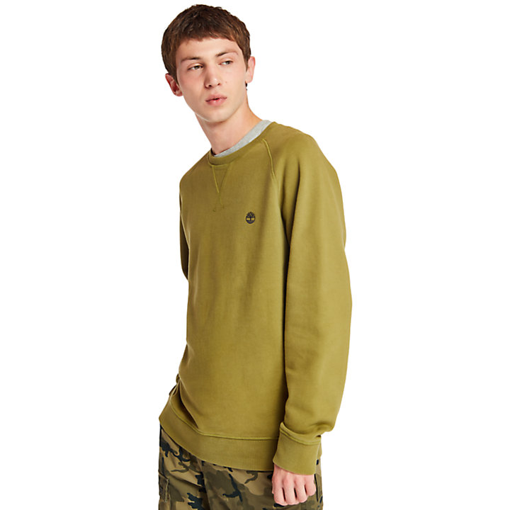 Exeter River Crew Neck Sweatshirt for Men in Dark Green-
