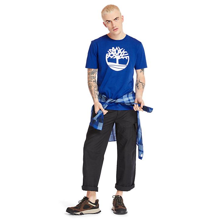 T-Shirt mit Baum-Logo für Herren in Blau-