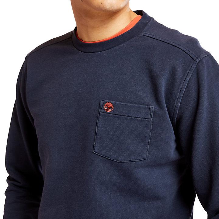 Sudadera Descolorida con Cuello Redondo para Hombre en azul marino-