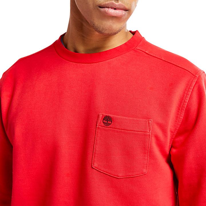 Sudadera Descolorida con Cuello Redondo para Hombre en rojo-