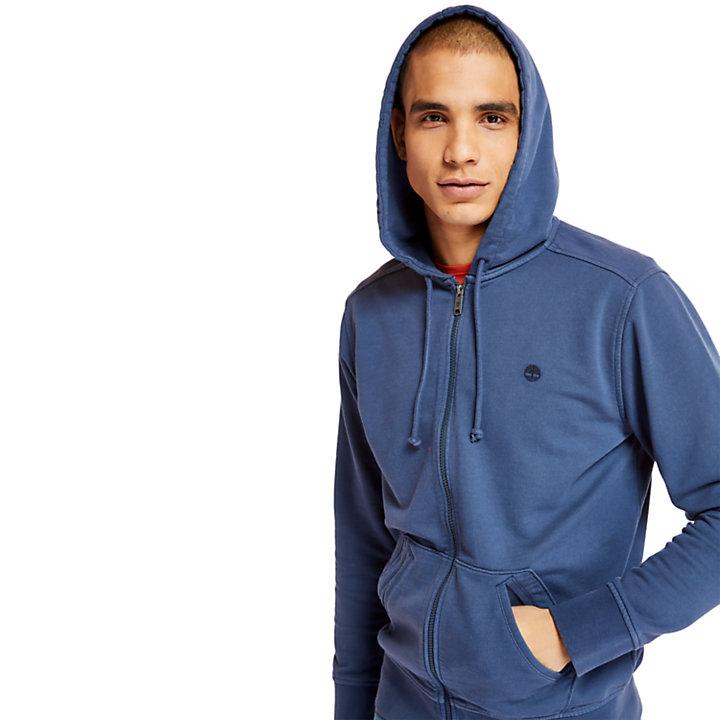Camiseta con Cremallera y Lavado Desteñido para Hombre en azul oscuro-