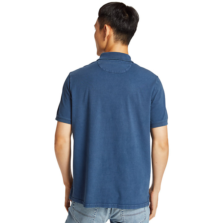 Polo da Uomo in Jersey Sunwashed in blu scuro-