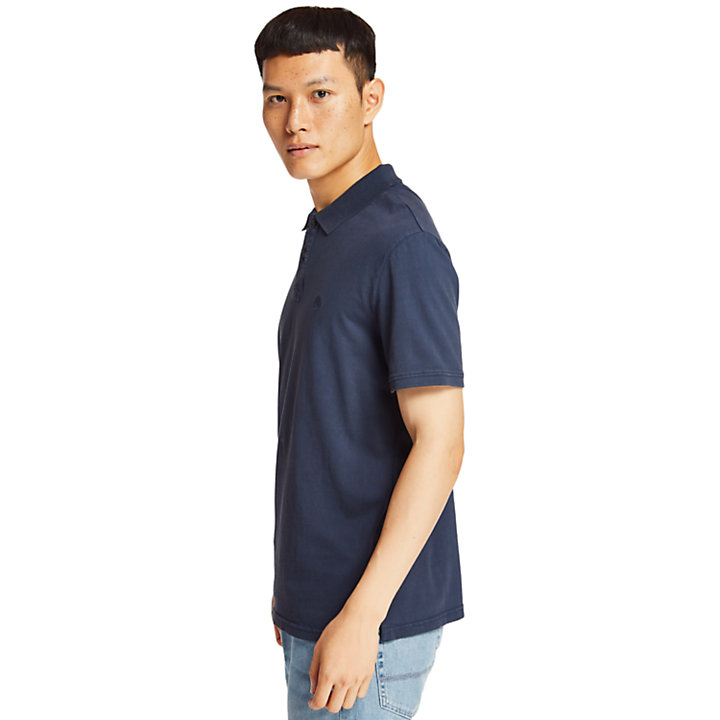 Sunwashed Jersey Polo Shirt for Men in Navy-