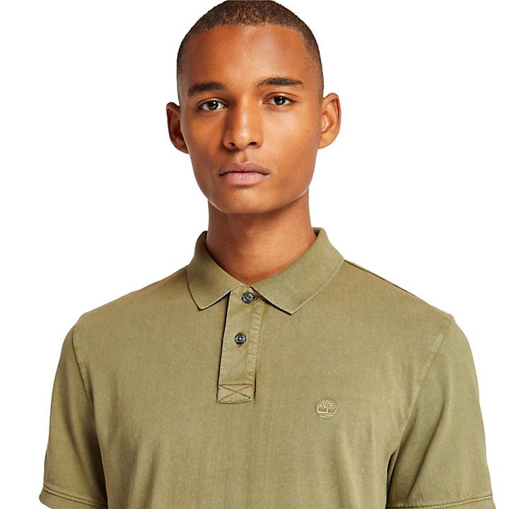 Sunwashed Jersey-Polohemd für Herren in Grün-