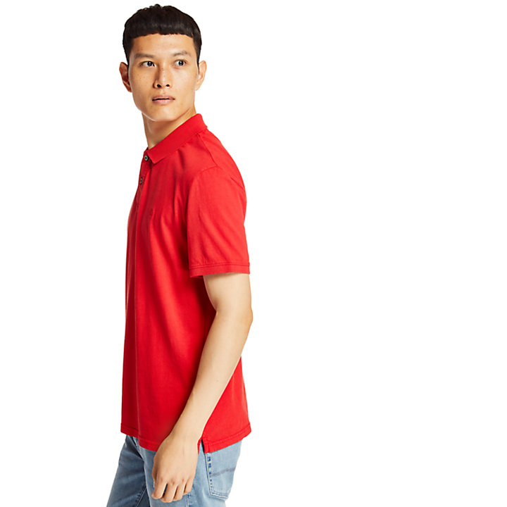 Sunwashed Jersey Polo Shirt for Men in Red-