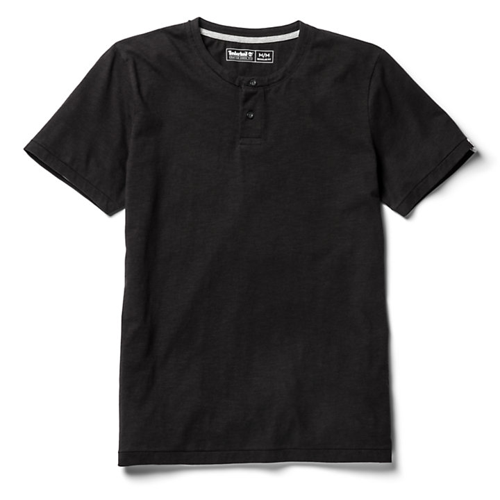 Upper Ammonoosuc River Henley Shirt for Men in Black-