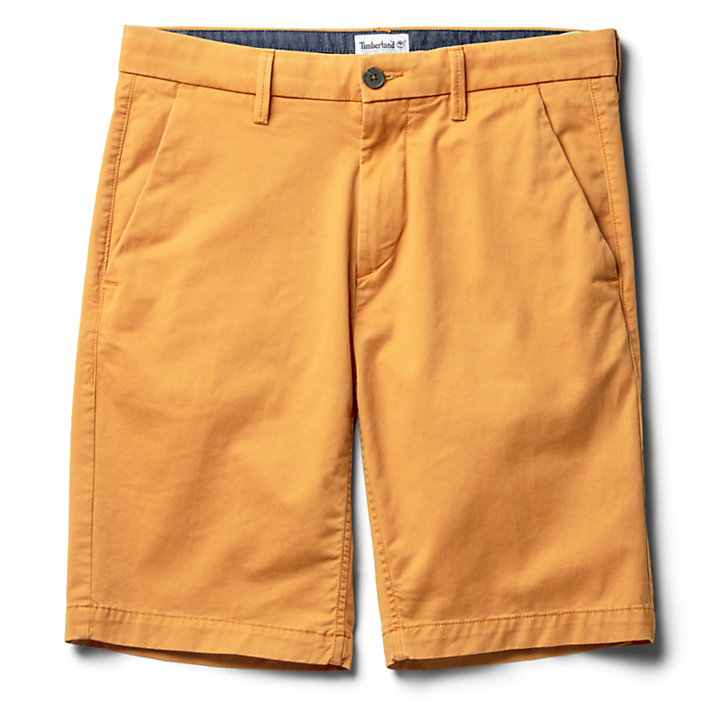 Squam Lake Stretch Chino Shorts for Men in Yellow-