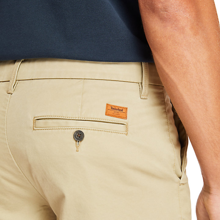 Short chino stretch Squam Lake pour homme en beige-