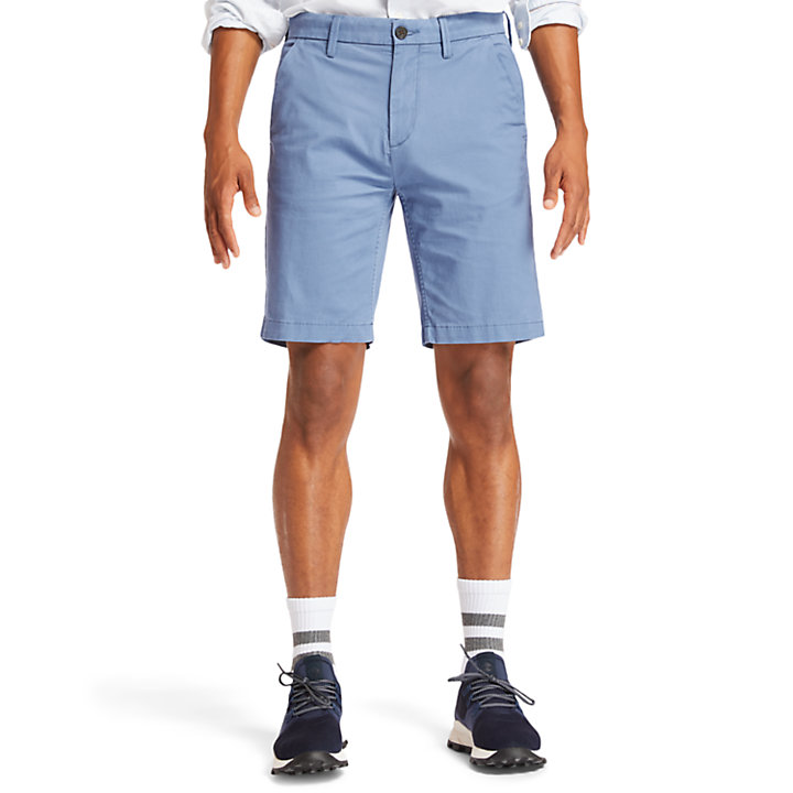Squam Lake Stretch Chino Shorts for Men in Blue-