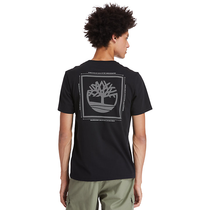 Back Tree Graphic T-Shirt for Men in Black-