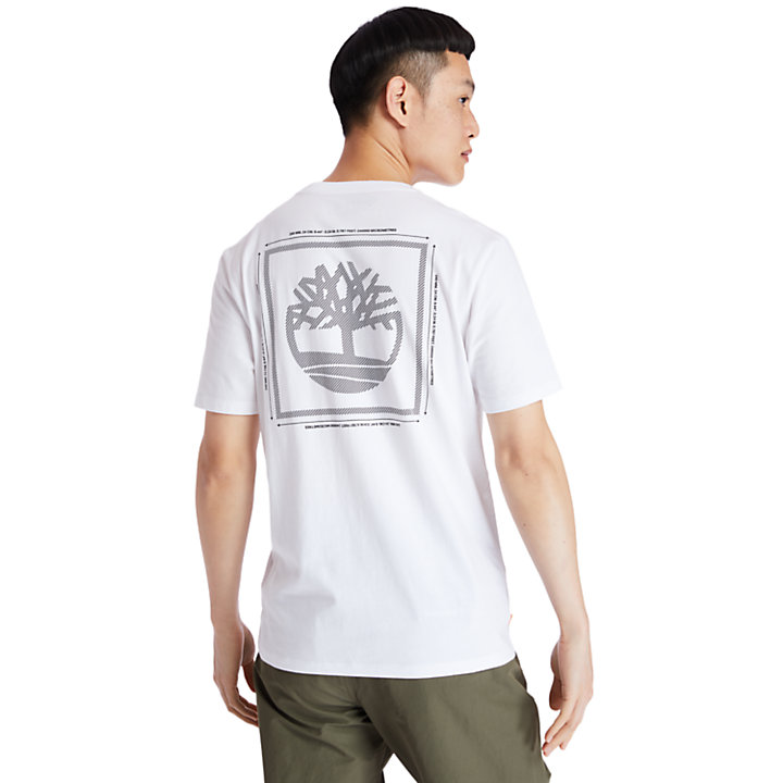 T-Shirt mit Baum-Print hinten für Herren in Weiß-