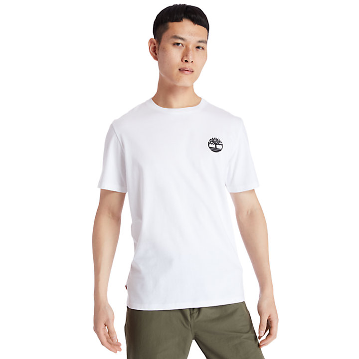 Back Tree Graphic T-Shirt for Men in White-