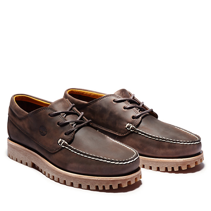 Oxford da Uomo Jackson's Landing Moc Toe in marrone scuro-
