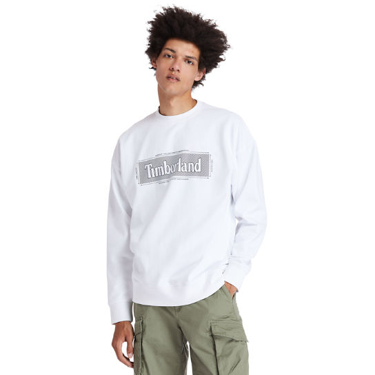 Logo Crewneck Sweatshirt for Men in White | Timberland
