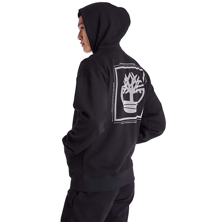 Logo Full-Zip Hoodie for Men in Black-
