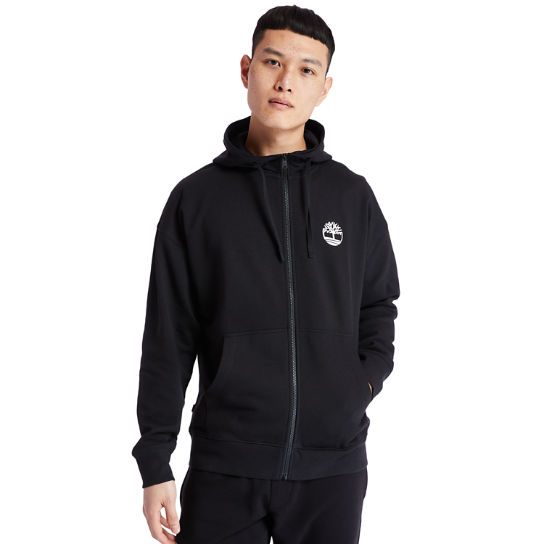 Logo Full-Zip Hoodie for Men in Black | Timberland