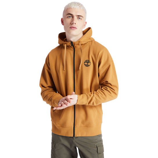 Logo Full-Zip Hoodie for Men in Yellow | Timberland