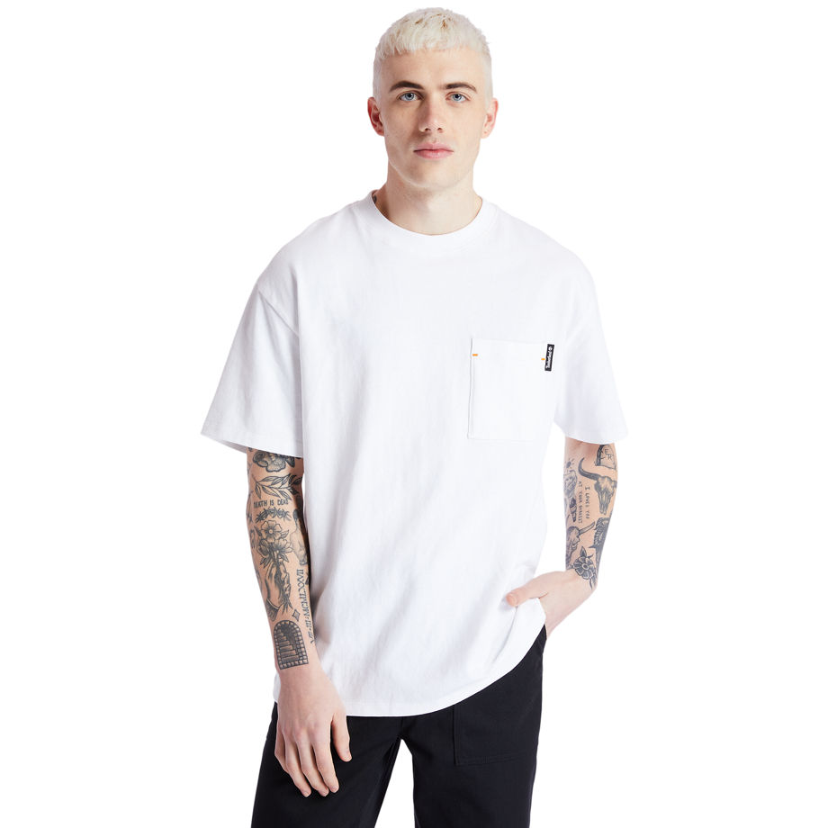 Timberland Organic Cotton Workwear T-shirt For Men In White White, Size XL