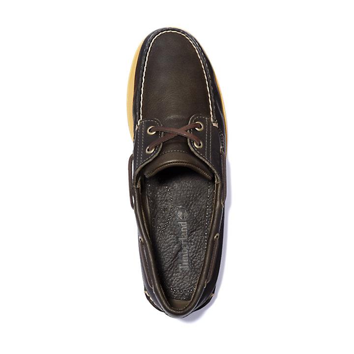 Chaussure bateau classique en cuir pleine fleur pour homme en marron foncé-