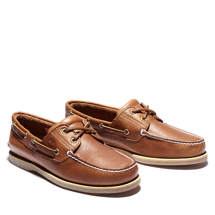 Classic Full Grain Boat Shoe for Men in Dark Beige-