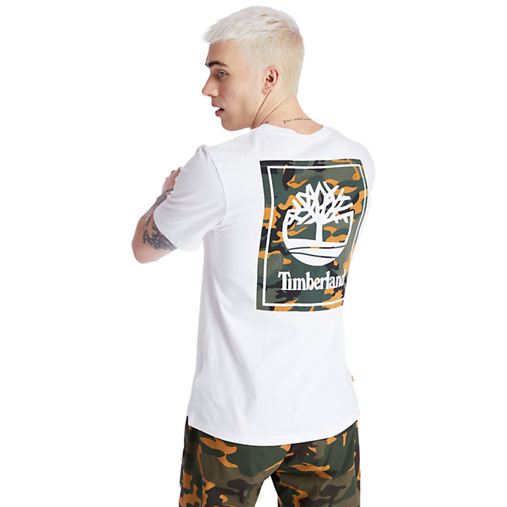 Camo Tree Logo T-Shirt for Men in White-