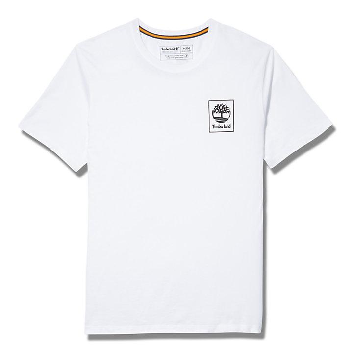 T-shirt à manches courtes et logo pour homme en blanc-