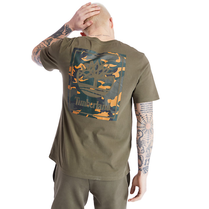 Camo Tree Logo T-Shirt for Men in Green-