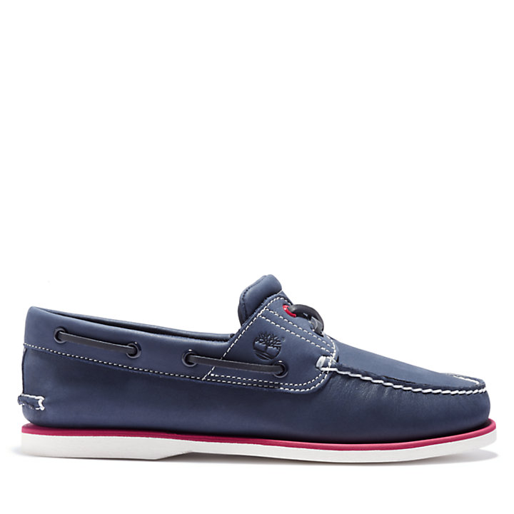 Classic Full Grain Boat Shoe for Men in Navy-