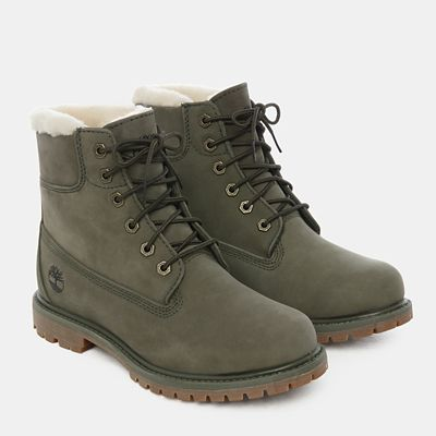 6+Inch+Shearling+Boot+for+Women+in+Dark+Green