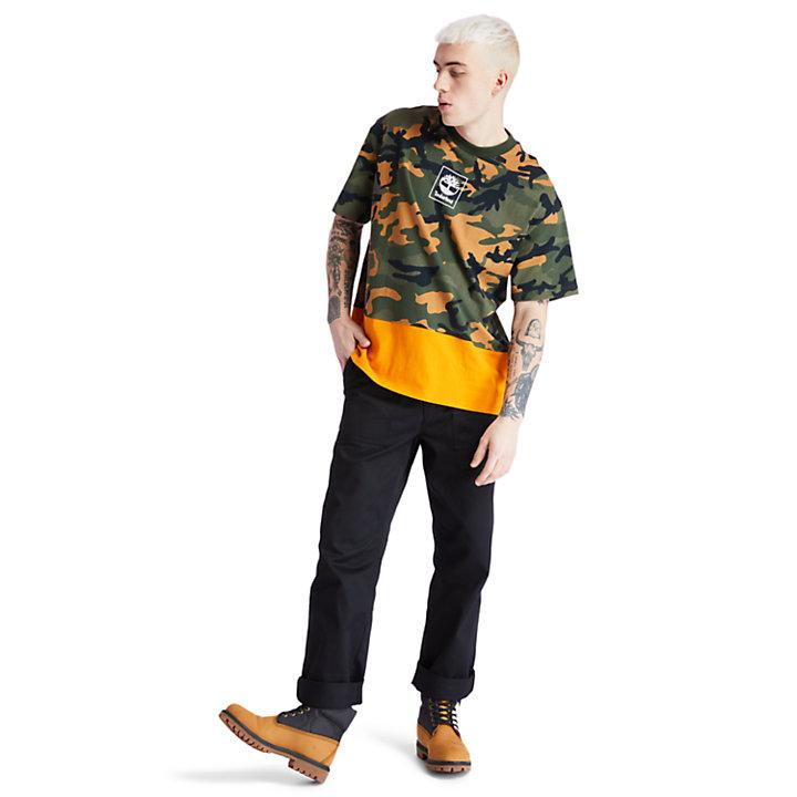 T-shirt camouflage avec logo pour homme en vert-