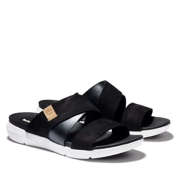 Wilesport Slide Sandal for Women in Black-