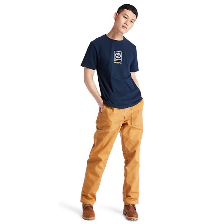 Camiseta con Logotipo Cuadrado del Árbol para Hombre en azul marino-
