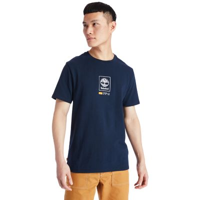Square+Tree+Logo+T-Shirt+for+Men+in+Navy