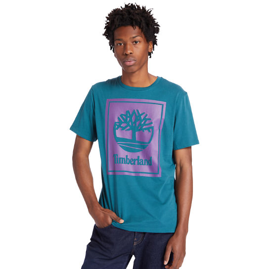 Stack Logo T-Shirt for Men in Teal | Timberland