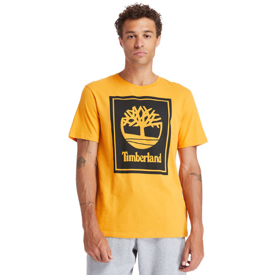 Stack Logo T-Shirt for Men in Orange | Timberland