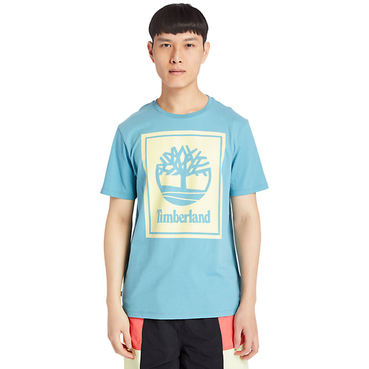 Stack Logo T-Shirt for Men in Teal-