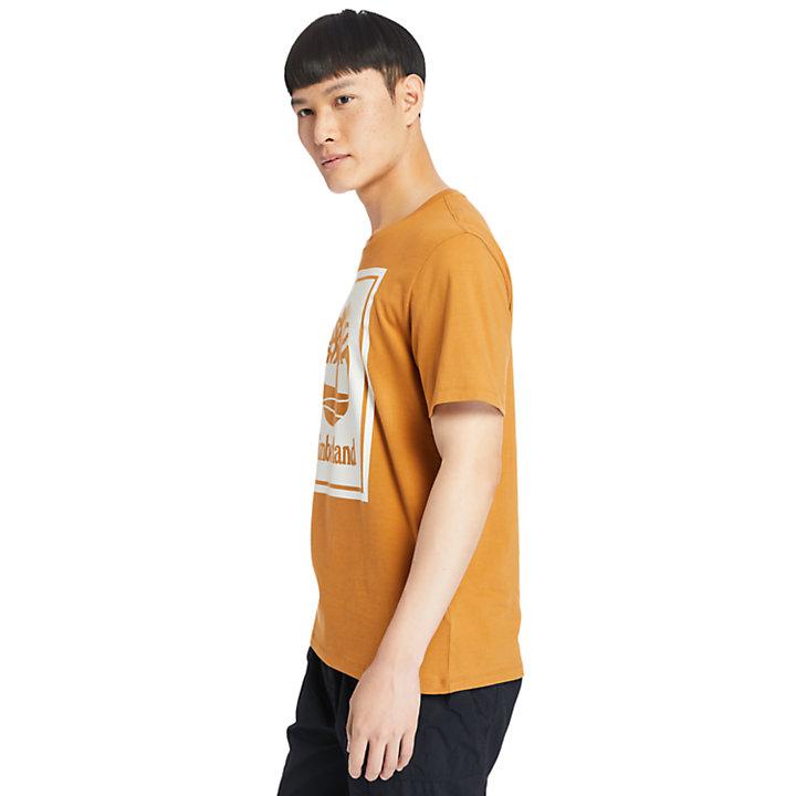 Camiseta con Logotipo Stack para Hombre en naranja/blanco-