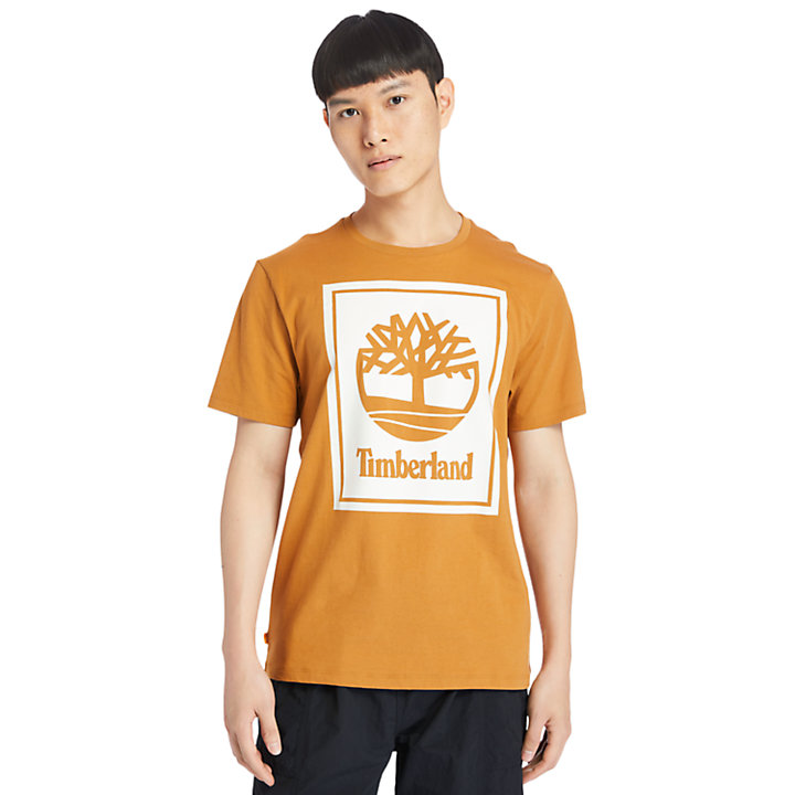 Stack Logo T-Shirt for Men in Orange/White-